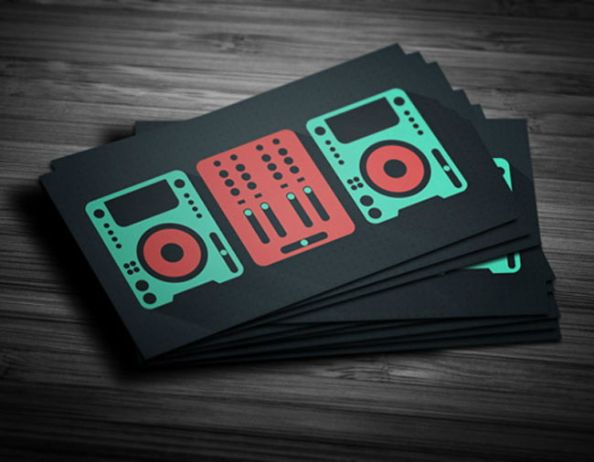 Flat design DJ business card