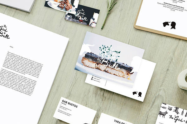 the girl and the bull business card
