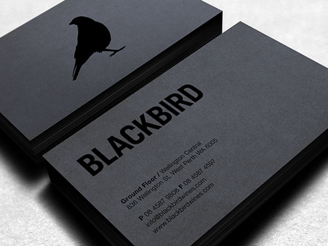 Blackbird business card with spotgloss UV printing