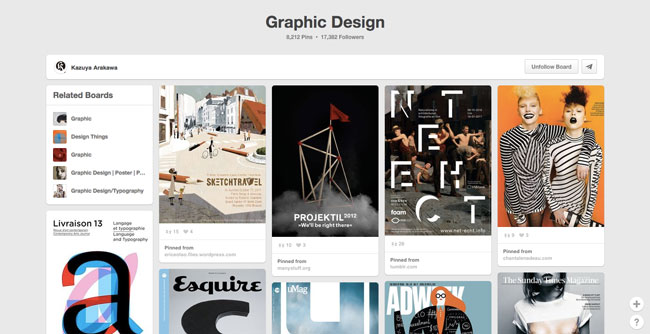 Pinterest board design Kazuya Arakawa