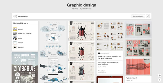 Pinterest board design Matteo Nativo