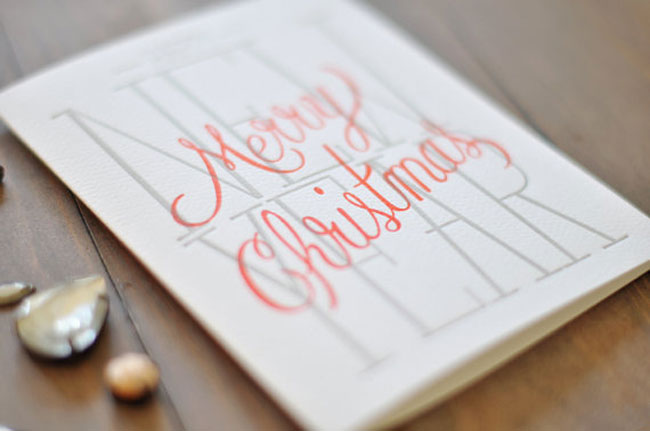 Holiday card hand lettered Wednesday Press