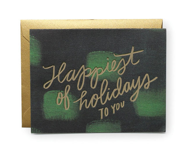 Holiday card hand lettered Moglea gold