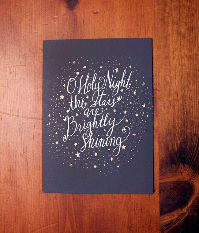 Holiday card hand lettered Thimble Press