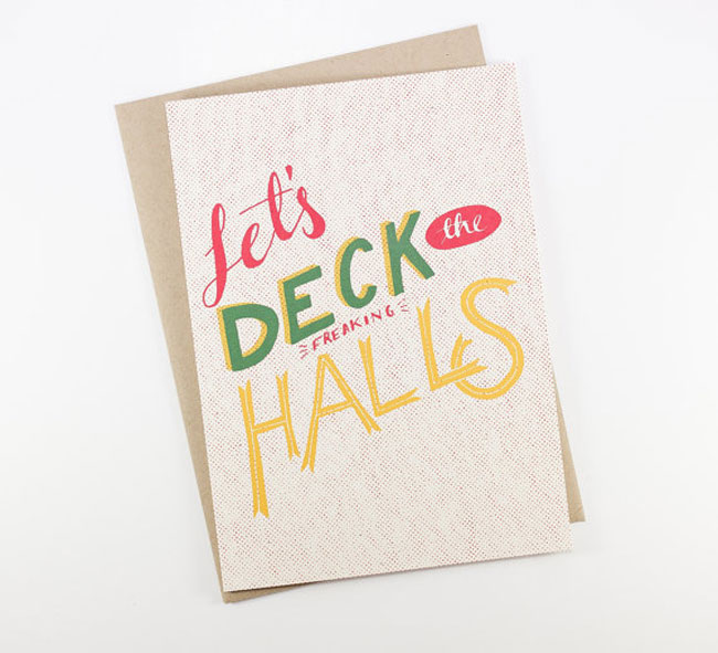 Holiday card hand lettered Sea and Lake
