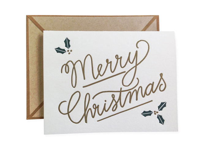 Holiday card hand lettered Ink Meets Paper