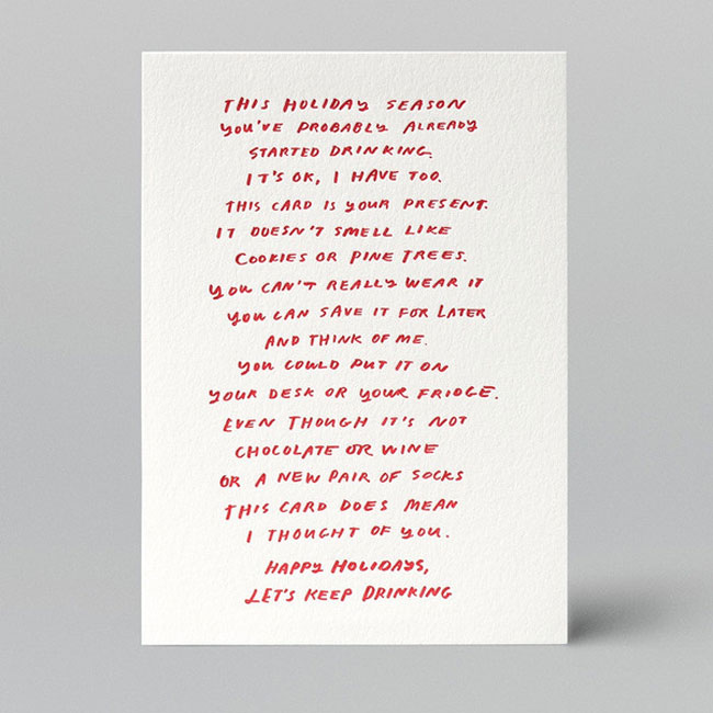 Holiday card hand lettered W+K Goodness
