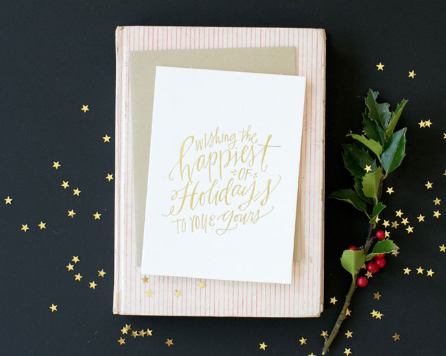 Holiday card hand lettered Lindsay Letters