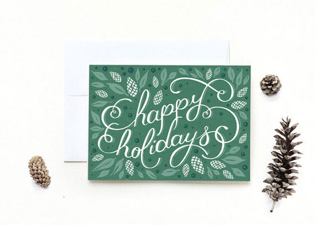 Holiday card hand lettered McManness