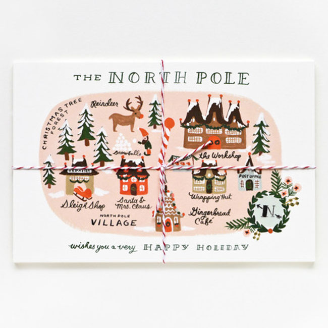 Holiday card hand lettered Rifle Paper