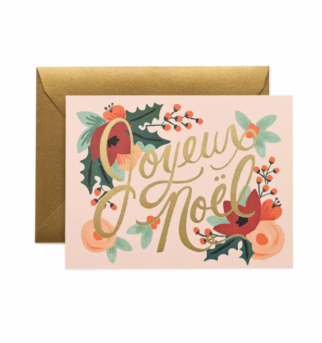 Holiday card hand lettered Joyeux Noel Rifle Paper