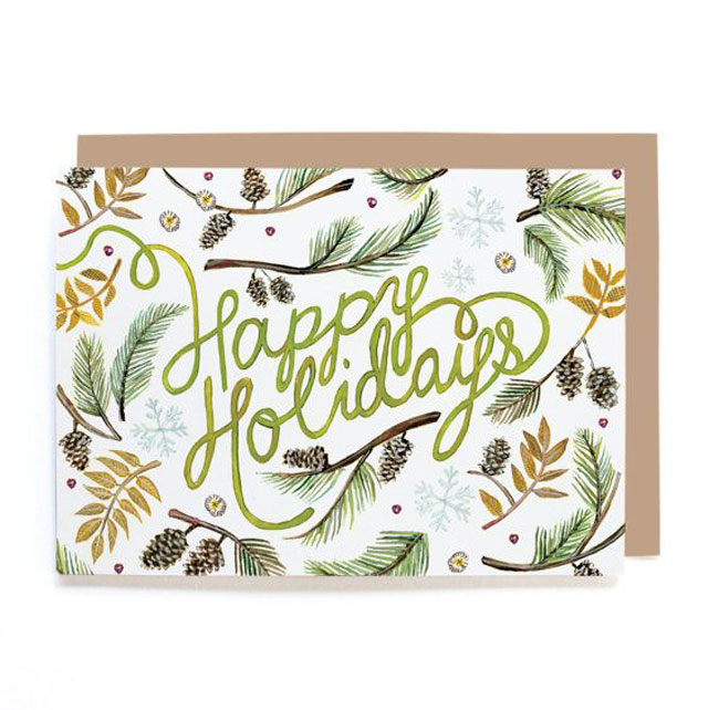 Holiday card hand lettered Lana Frankel