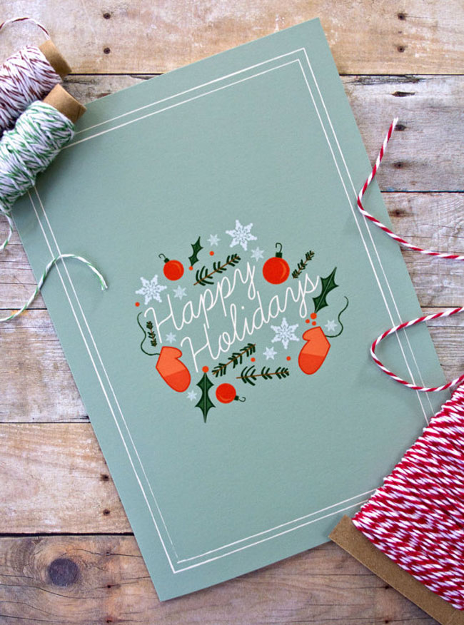 Holiday card hand lettered Katie Crawford