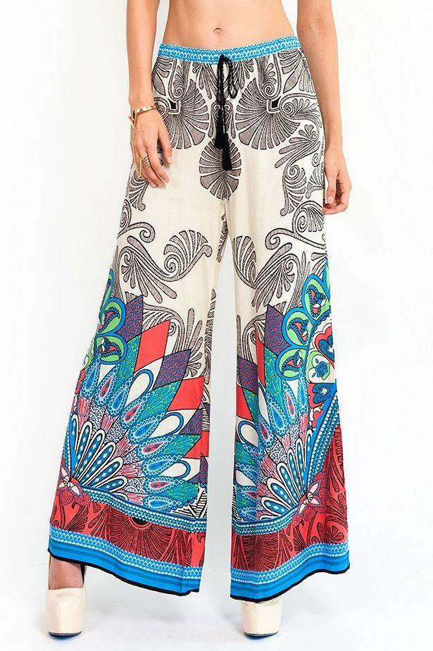 paisley print palazzo pants