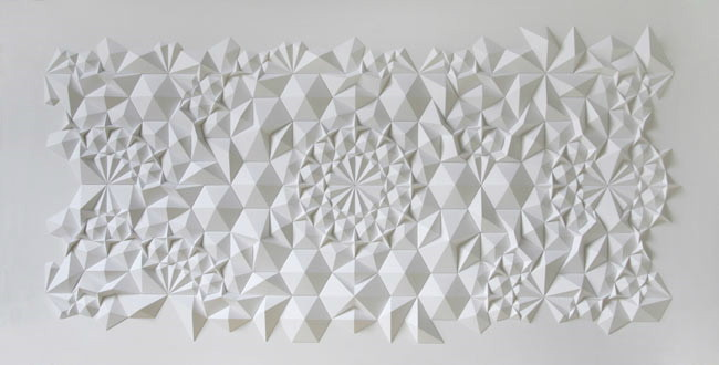 paper art installation by Matthew Shlian