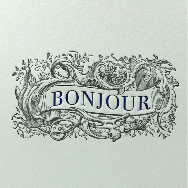 bojour letterpress card
