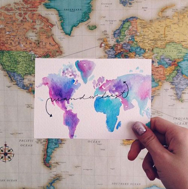 Travel postcards Watercolor WanderlustColors
