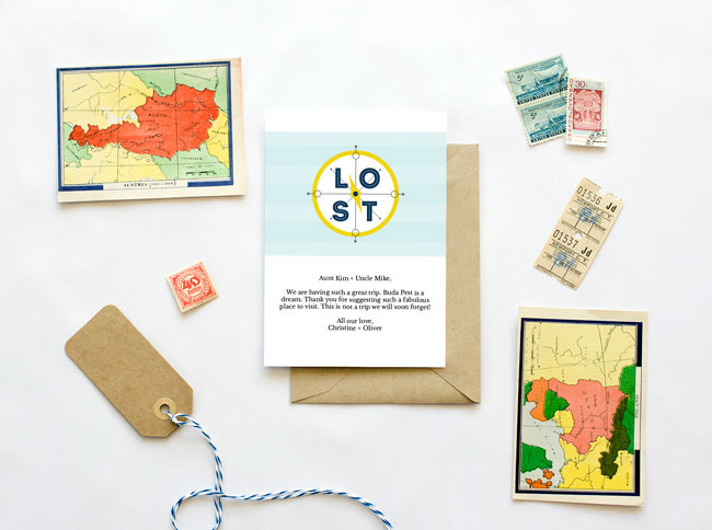 Travel postcards Travel Mail Red Stamp