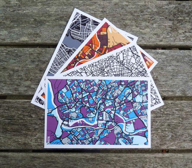 Travel postcards Firewatergallery 4-city map