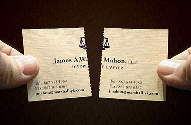 Divorce lawyer ripped card