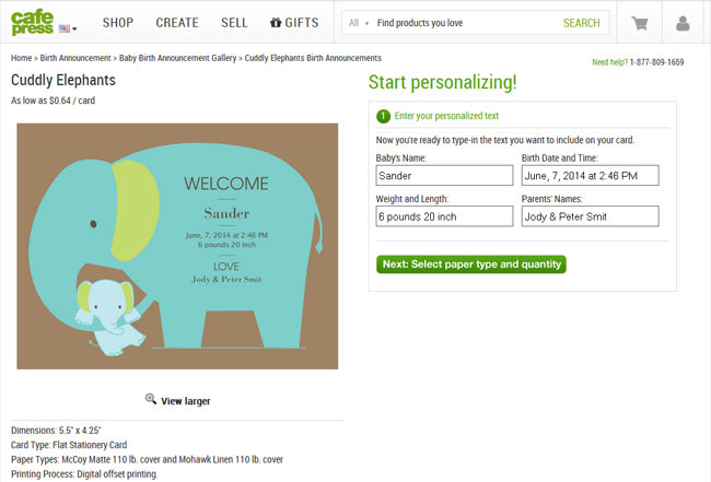 Cafepress Online designer for Birth Announcements