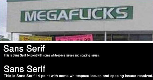 Poor font choice examples