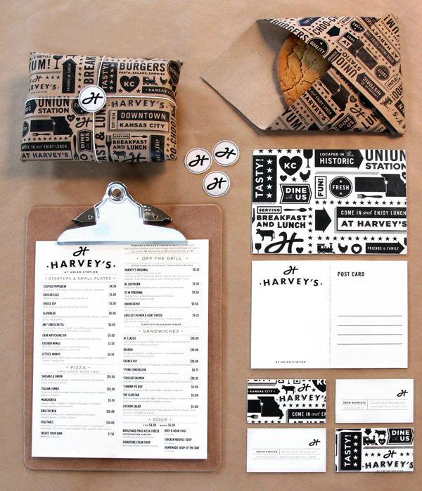 harvey's menu and packaging