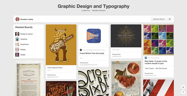 Pinterest board design Brandon Lesley