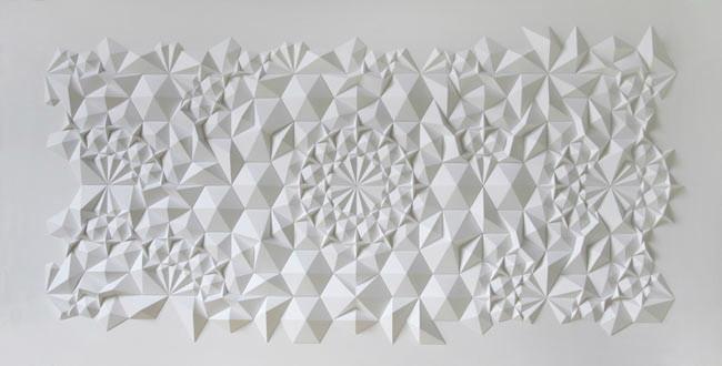 paper art installation by Matthew Shlian