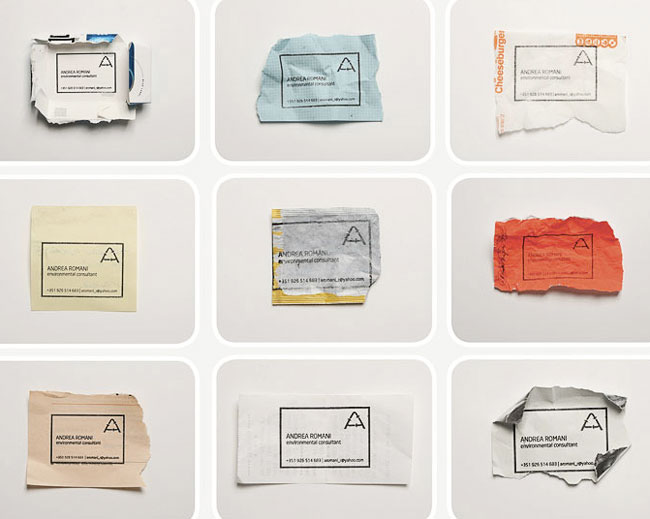Good design Andrea Romani ecological business card