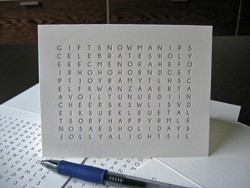 holiday word search card