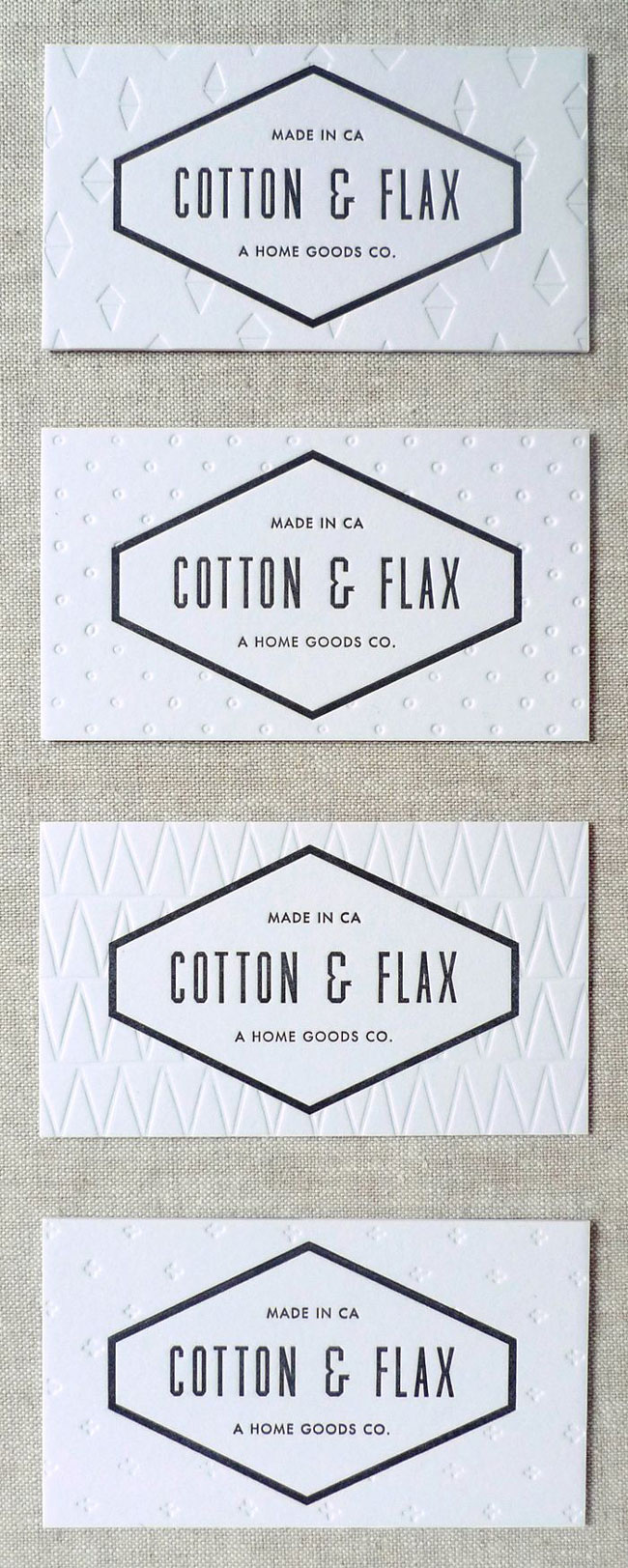 Letterpress printing example Cotton & Flax
