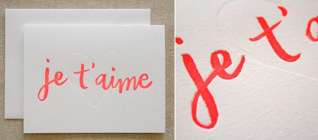 Letterpress printing example je t'aime